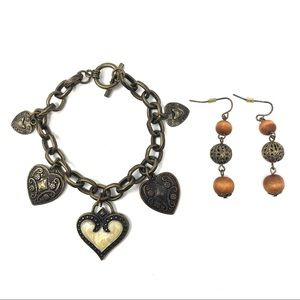 Jewelry - 2 Piece Gold Tone Heart Charm Bracelet & Earrings